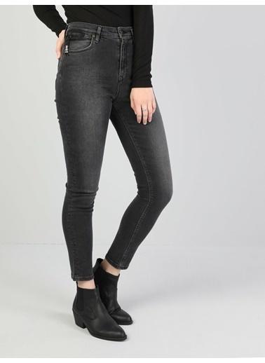 Colin's 760 Dıana Yüksek Bel Dar Paça Super Slim Fit Koyu Gri Kadın Jean Pantolon İndigo
